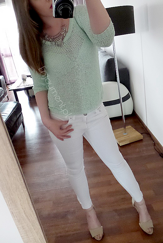 spring outfit tumblr, mint tumblr, white jeans, białe rurki, białe spodnie, białe jeansy, szpilki, opent toe, blogerka,polska blogerka, lifestyle, pure, casual, neckle, me, myself, ootd, tbt, today, zip, rurki zip, moda, fashion, polska blogerka modowa,